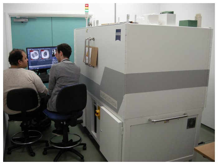 Amin Garbout (Micro-CT Scanning Specialist: left) and Daniel Martín-Vega (Research Entomologist: right) preparing the Zeiss micro-CT scanner for an automated scanning session.