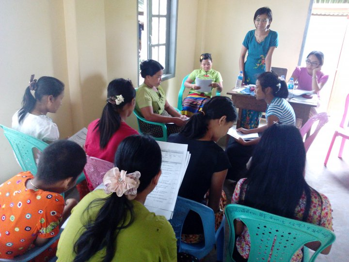 Community volunteers practice questionnaires during training session – Yangon region, Myanmar