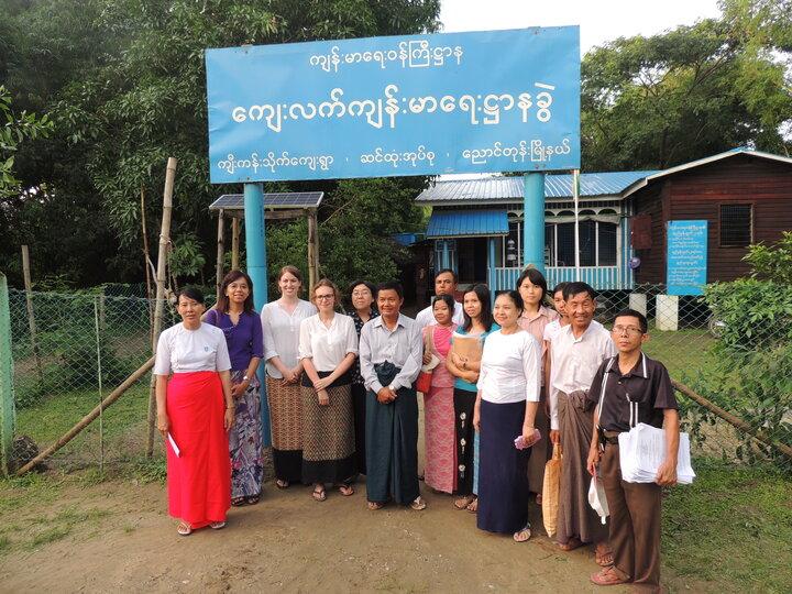 Health team in front of clinic - Ayeyarwady region, Myanmar
