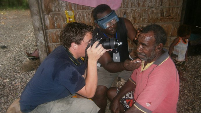Eyelid examination in Santa Cruz, Solomon Islands photo courtesy Robert Butcher