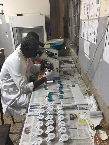 TUMIKIA lab technician preparing sample slides to measure STH prevalence. Image courtesy of LASER