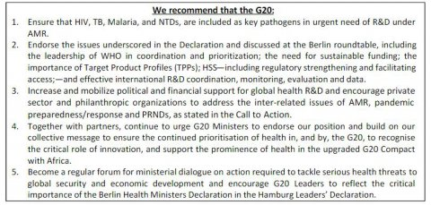Recommendations made to G20