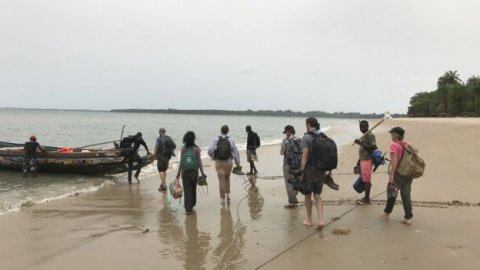 Researchers from LSHTM leaving Rubane island following a mosquito survey. Image courtesy LSHTM