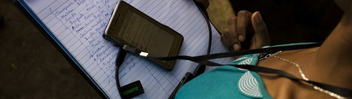 Research collecting field data on trachoma - Image courtesy of Sightsavers